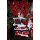 Lot misc valentine displays w/ 3 tier cart