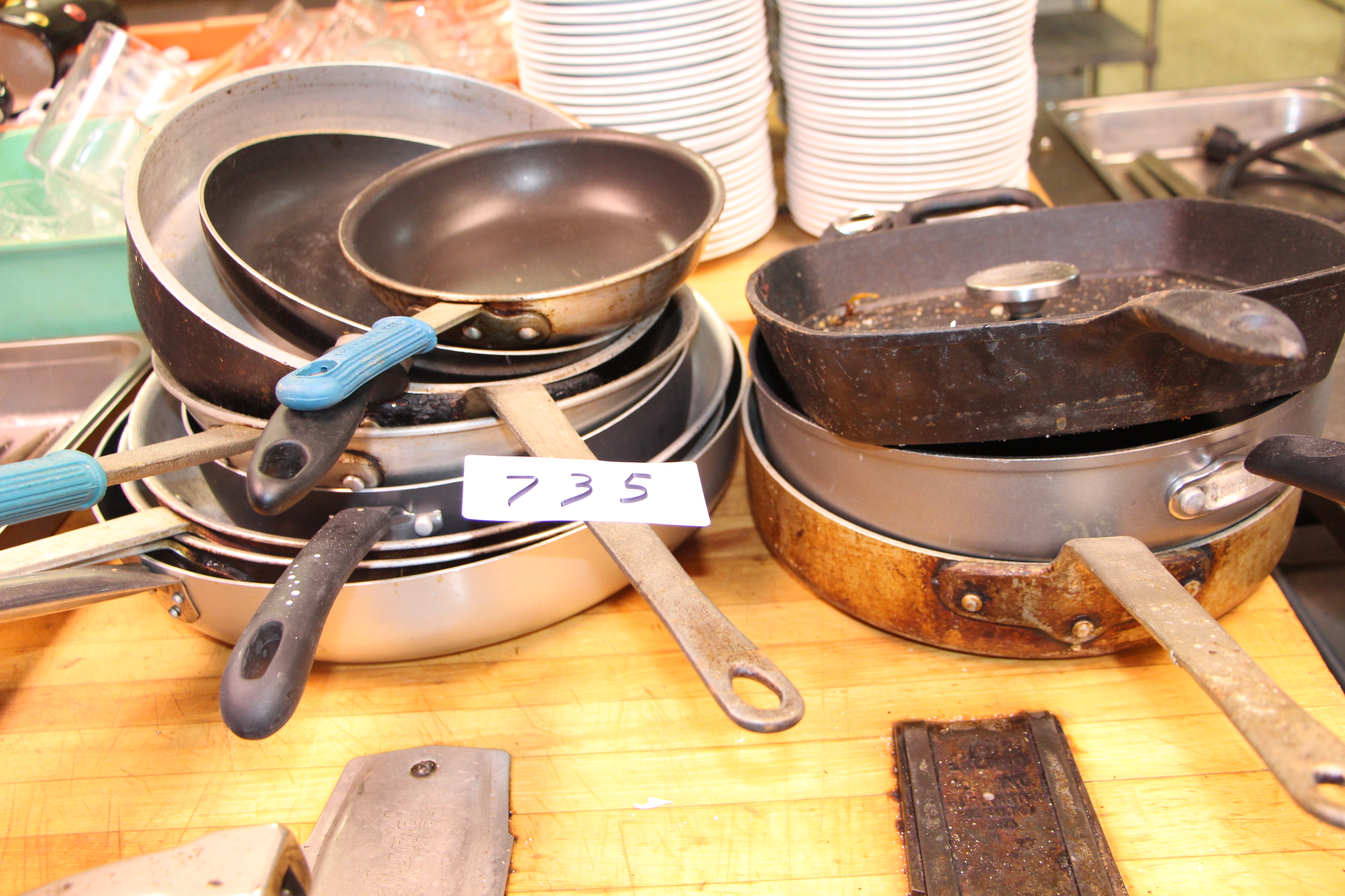 Lot 735 - Lot misc cooking pans etc