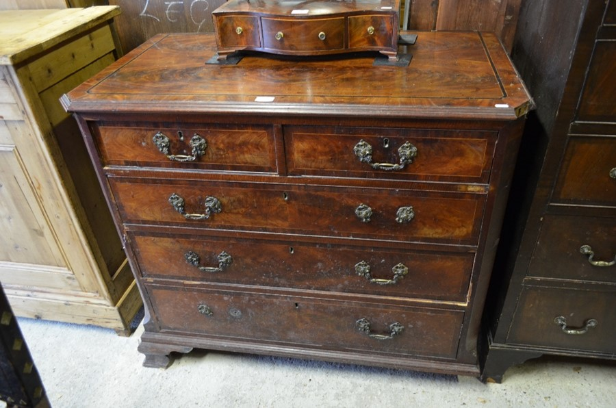 Lot 57 - George III mahogany and ebony strung chest of two short over three long drawers (A/F)