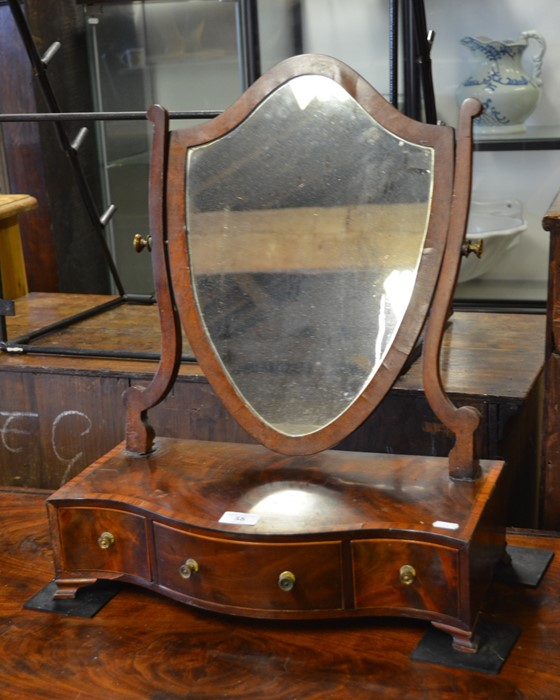 Lot 58 - 19th century shield shaped toilet mirror on serpentine front three drawer platform base (A/F)