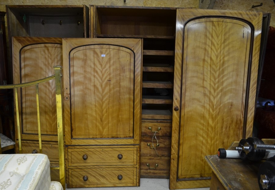 Lot 43 - In the manner of Holland & Son, a Victorian satin birch compactum - lacking the plinth top - sold as