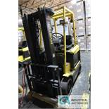 """5,000 LB HYSTER MODEL E50XM-27 ELECTRIC SOLID TIRE LIFT TRUCK; S/N F108V13995V, 3-STAGE MAST, 82"""""""