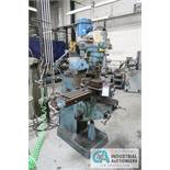 """1.5HP BRIDGEPORT VERTICAL MILL; S/N 133745, 9"""" X 42"""" POWER TABLE, SPINDLE SPEED 60-4200 RPM"""