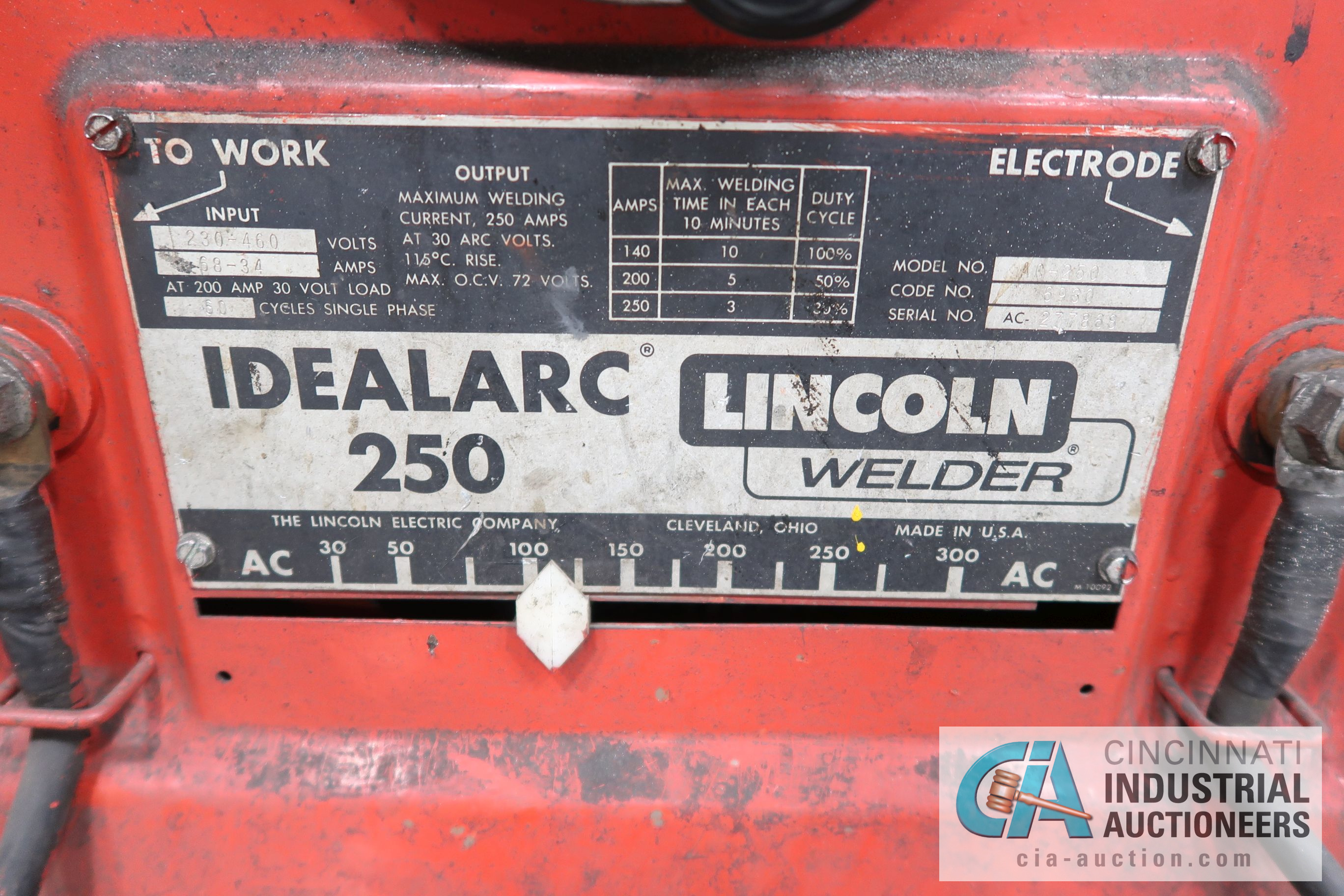 200 AMP LINCOLN IDEALARC 250 WELDER - Image 2 of 2