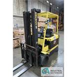 """6,500 LB HYSTER MODEL E65XM-40 ELECTRIC SOLID TIRE LIFT TRUCK; S/N F108V023105, 3-STAGE MAST, 88"""""""