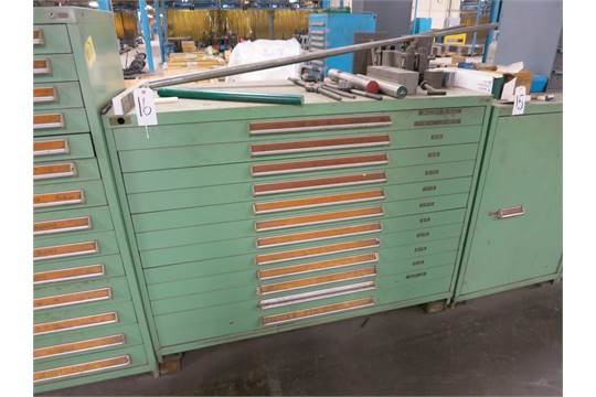 Previous & Stanley Vidmar 12 drawer extra wide tool cabinet and contents; taps