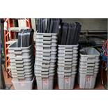 """Large Lot of Rubbermaid Totes, 18"""" x 36"""" x 72"""" 12 and Tier Heavy Duty Metal Rack"""