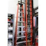 """(2) Ladders (1) Werner 10"""" Step Lasdder 300 lb. capacity / (1) Werner 32' Extension Ladder 300lb."""