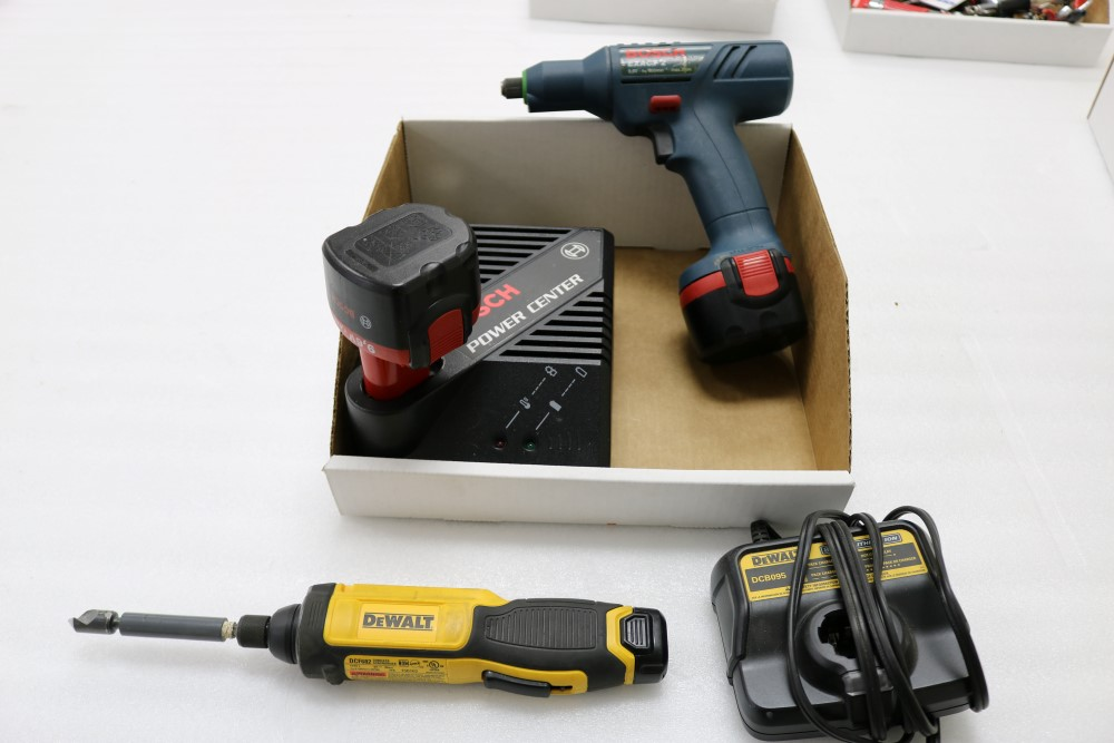 Bosch Exact Z Cordless Drill with Power Station and Two Batteries, Dewalt Gyroscopic Technology Hand