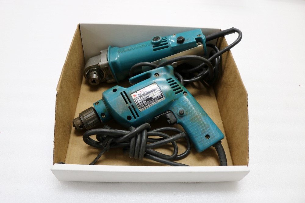 "Makita 10mm Angle Drill, Model DA3000R and Makita 3/8"" Heavy Duty Corded Drill"