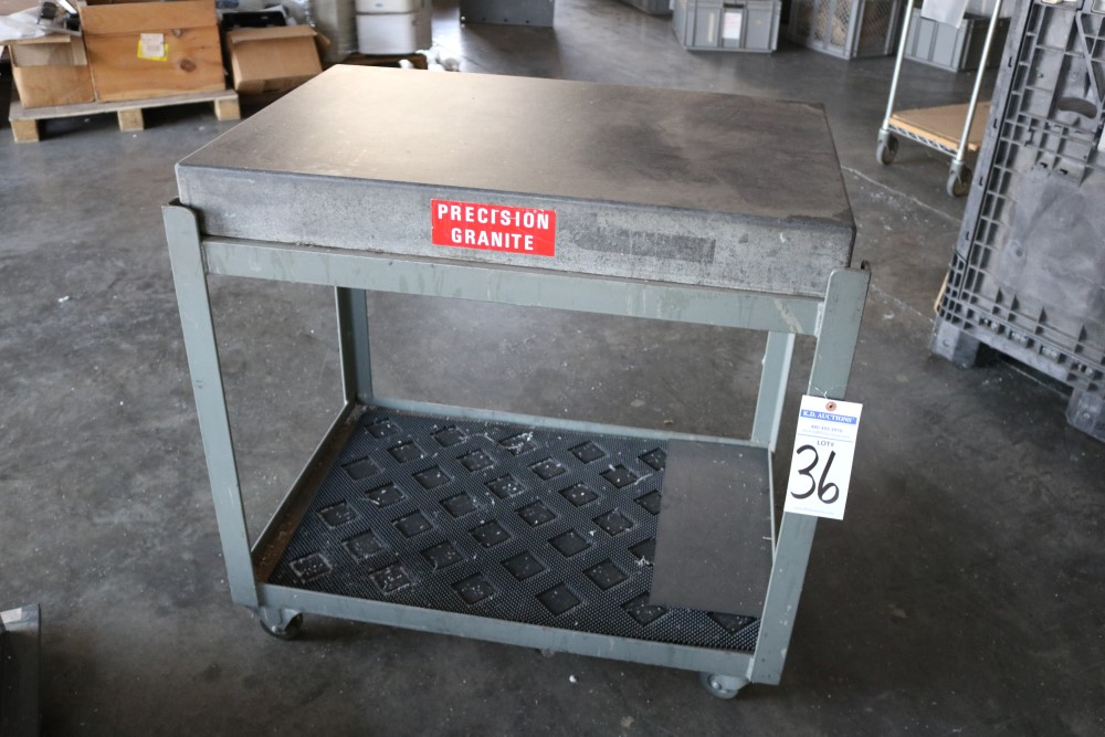 "Precision Granite Inspection Table on Metal Rolling Stand 2' x 3' x 4"" - Image 4 of 4"