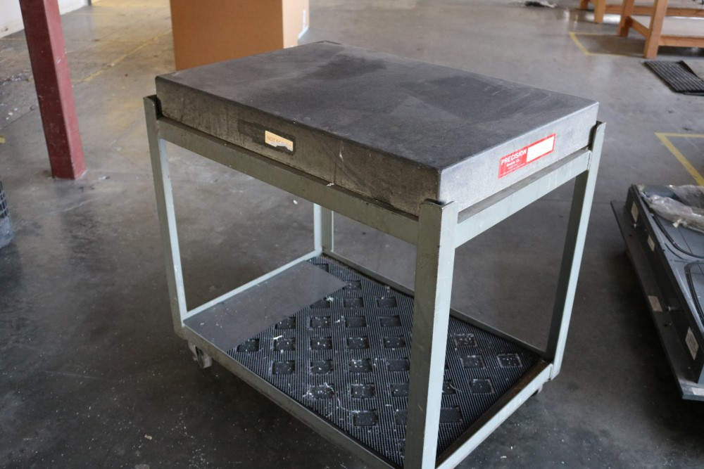 Precision Granite Inspection Table on Metal Rolling Stand 2' x 3' x 4""
