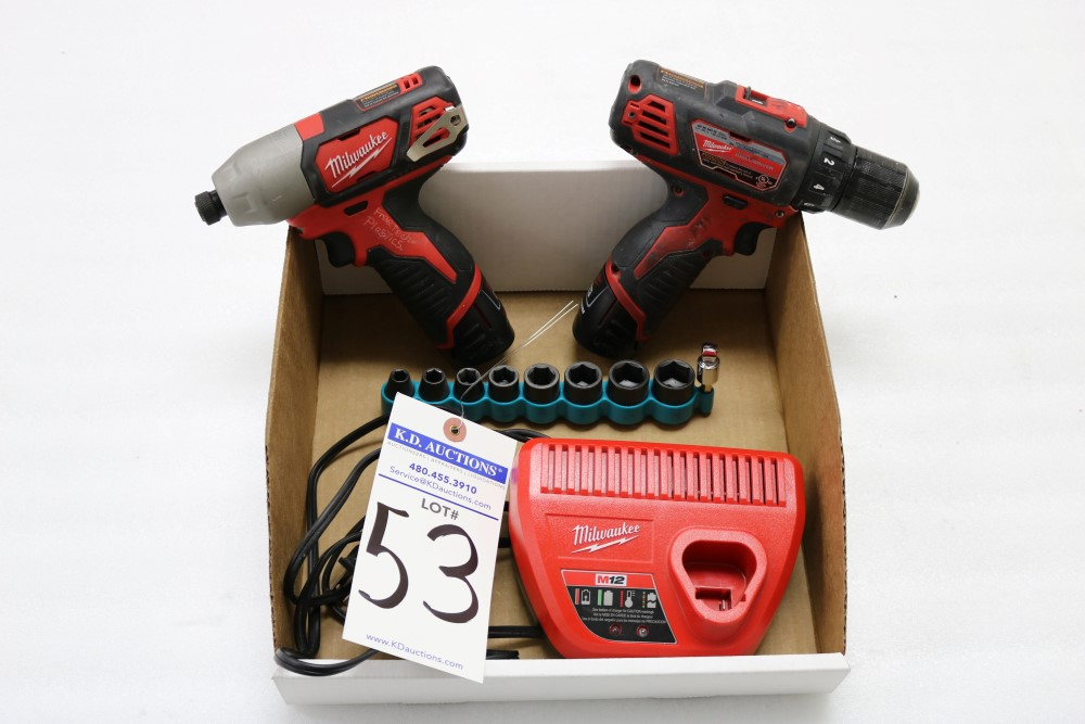 "Milwaukee 1/4"" Hex Impact Driver Cordless, Milwaukee 3/8"" Drill Driver Cordless, Charging Station - Image 5 of 5"