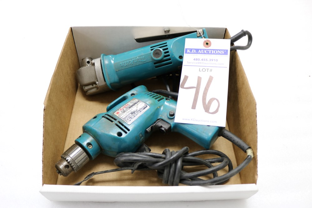 "Makita 10mm Angle Drill, Model DA3000R and Makita 3/8"" Heavy Duty Corded Drill - Image 5 of 6"