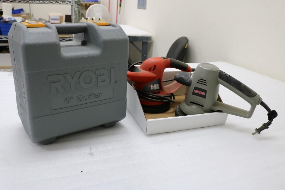"Lot 58 - Craftsman 6"" Buffer/Polisher, Black and Decker 6"" Buffer/Polisher, Ryobi 6"" Buffer in Case"