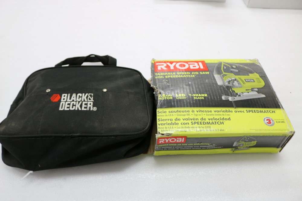 Lot 47 - Ryobi Variable Speed Jig Saw with Speedmatch Black and Decker Variable Speed Jig Saw in Bag Model