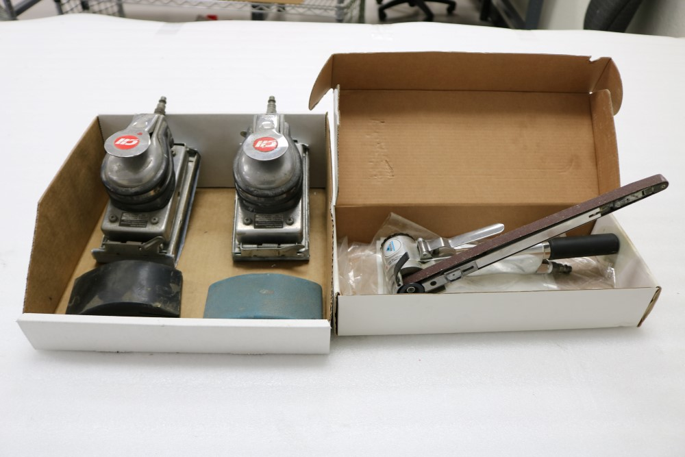 (2) Campbell Hausfeld Jitterbug Pneumatic Air Sander, (2) Hand Sanding Blocks, Prestige Pneumatic