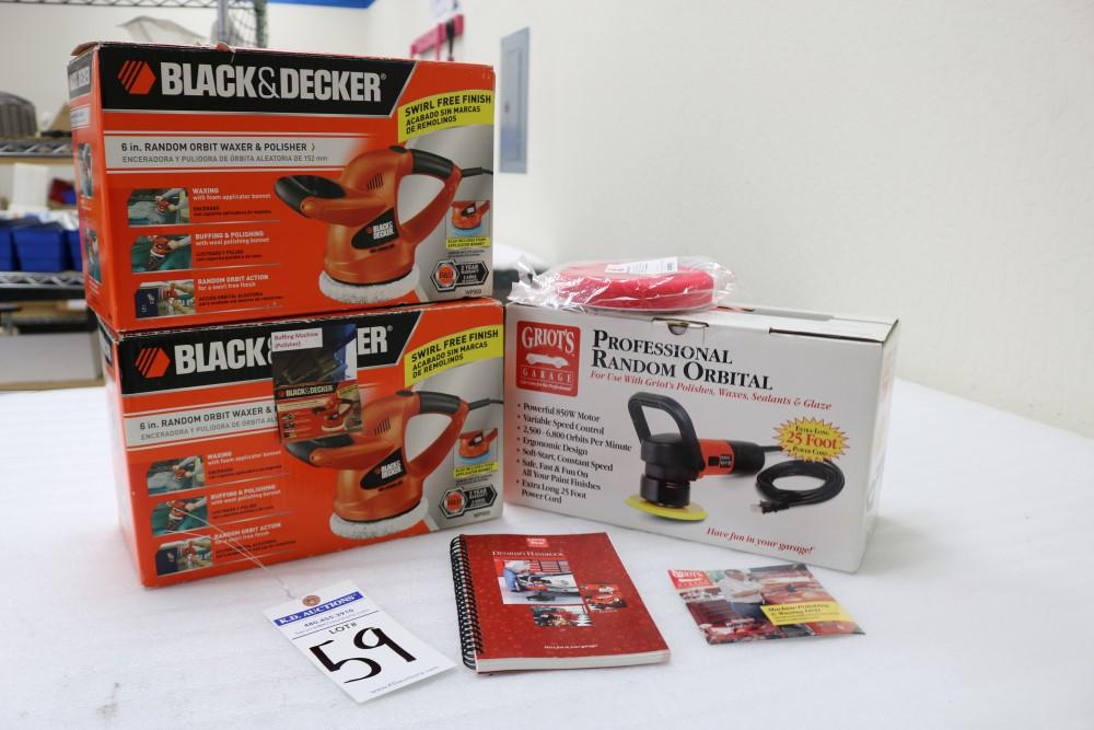 "Lot 59 - (2) Black and Decker 6"" Random Orbital Waxer/Polisher, Griots Garage Professional Random Orbital"
