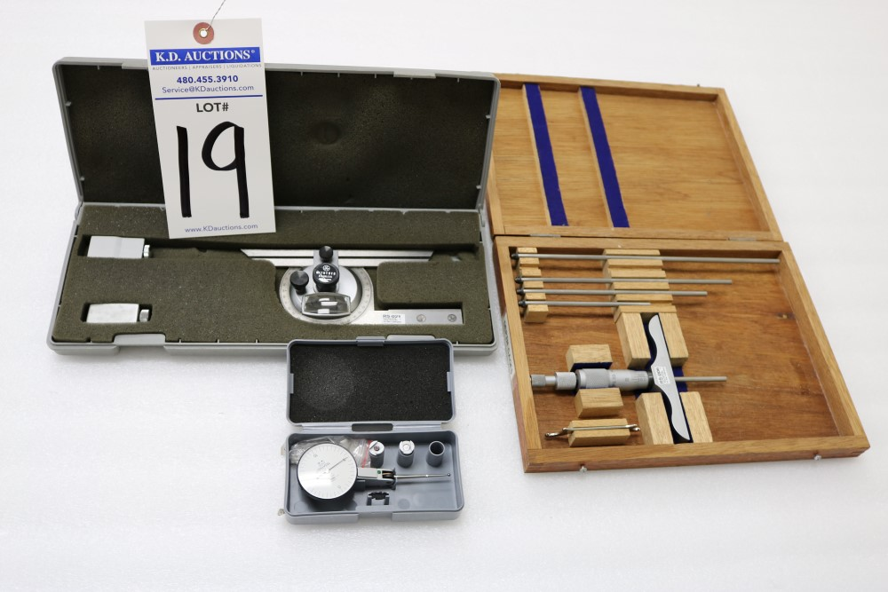 "Mitutoyo Universal Bevel Protractor Set and NSK Depth Gage Micrometer Set 0.001 - 6"". Tesatast - Image 6 of 6"