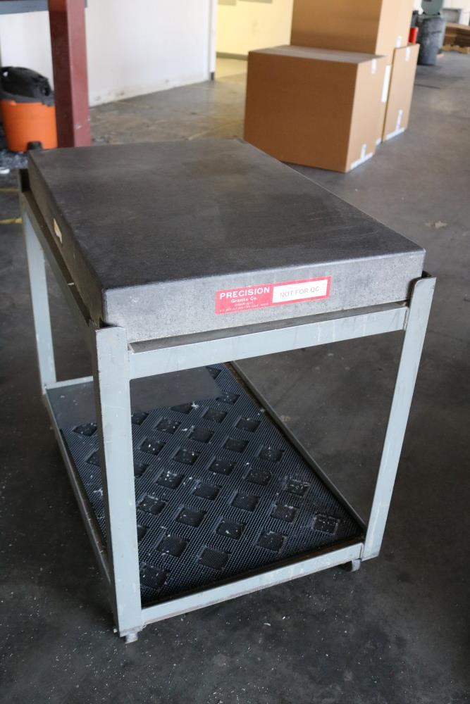 "Precision Granite Inspection Table on Metal Rolling Stand 2' x 3' x 4"" - Image 2 of 4"