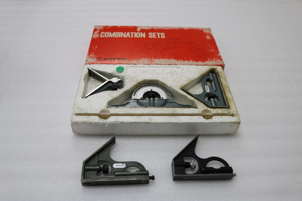 Mitutoyo Combination Sets with Square Head, Center Head, Protractor Head and Blade (Grade B). (2)