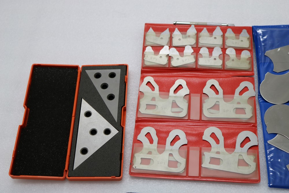 "Lot 21 - Box of Radius Gage Sets, 1/64 - 1/2 SPI, 9/16 - 1"" Set, 45/45/90 Degree Angle Blacker, 1/2"" Mitutoyo"