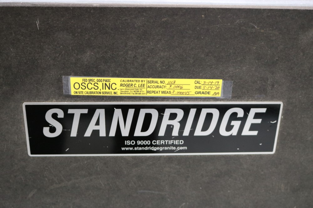 Standridge ISO 9000 Certified Grade AA, Black Granite Inspection Table. Accuracy as of 5/14/20 +/- - Image 2 of 9