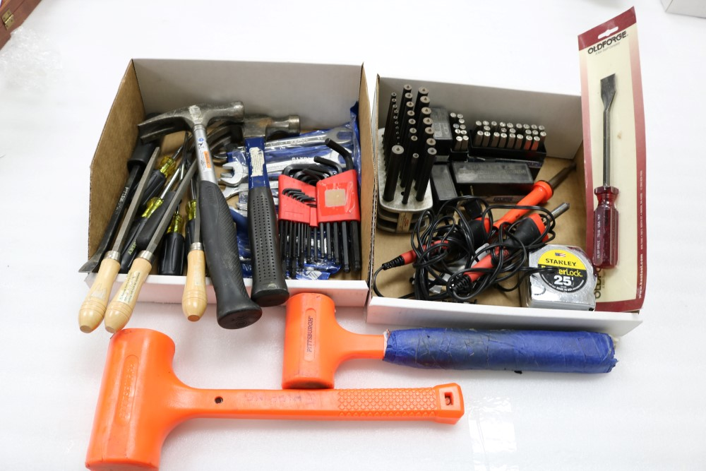 Box of Hammers, Wrenches, Allen Keys, Flat Heads and Screw Drivers. Letter and Number Marking