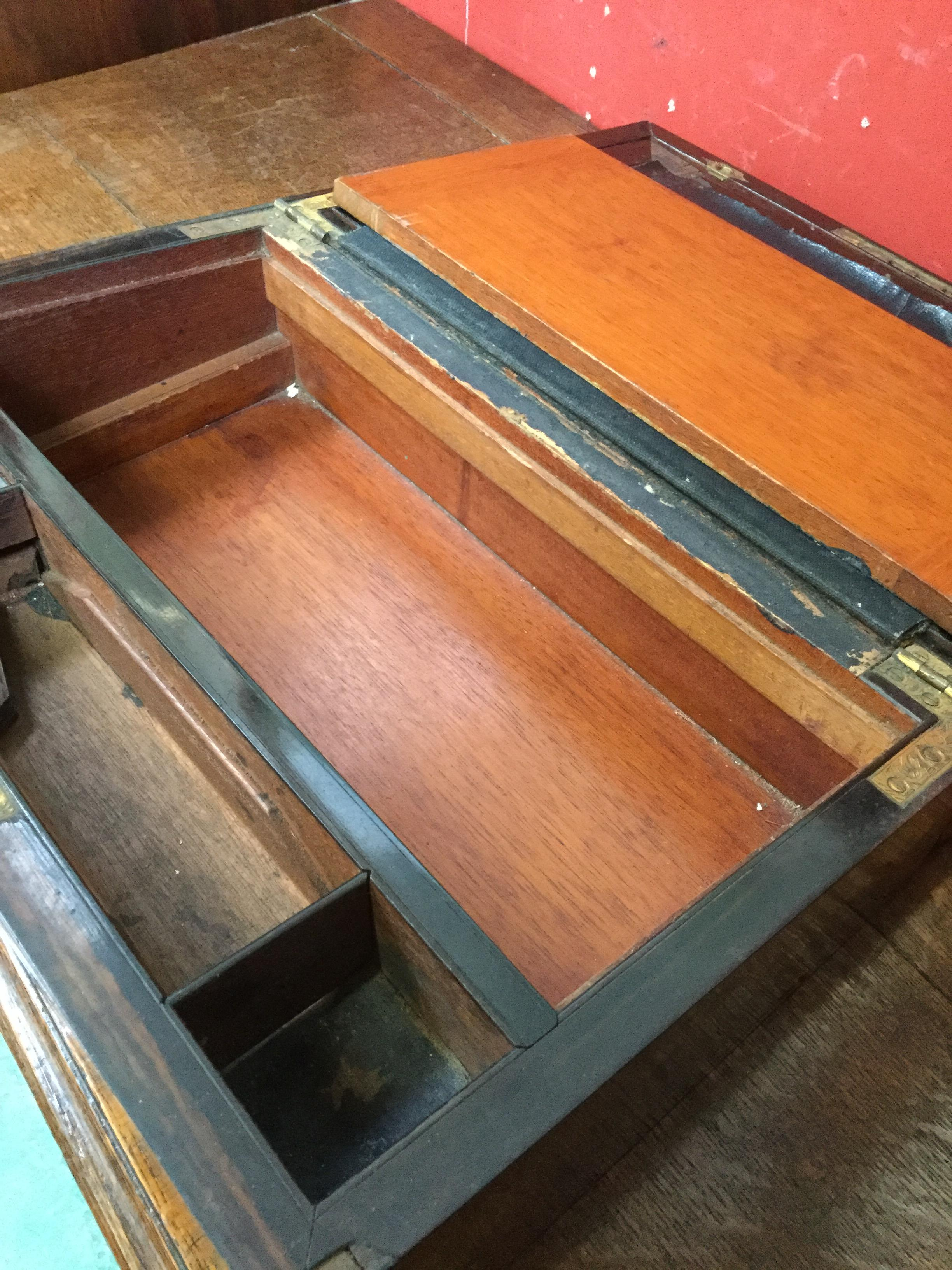 Lot 52 - A 19th century burr walnut rectangular desk box, 35.