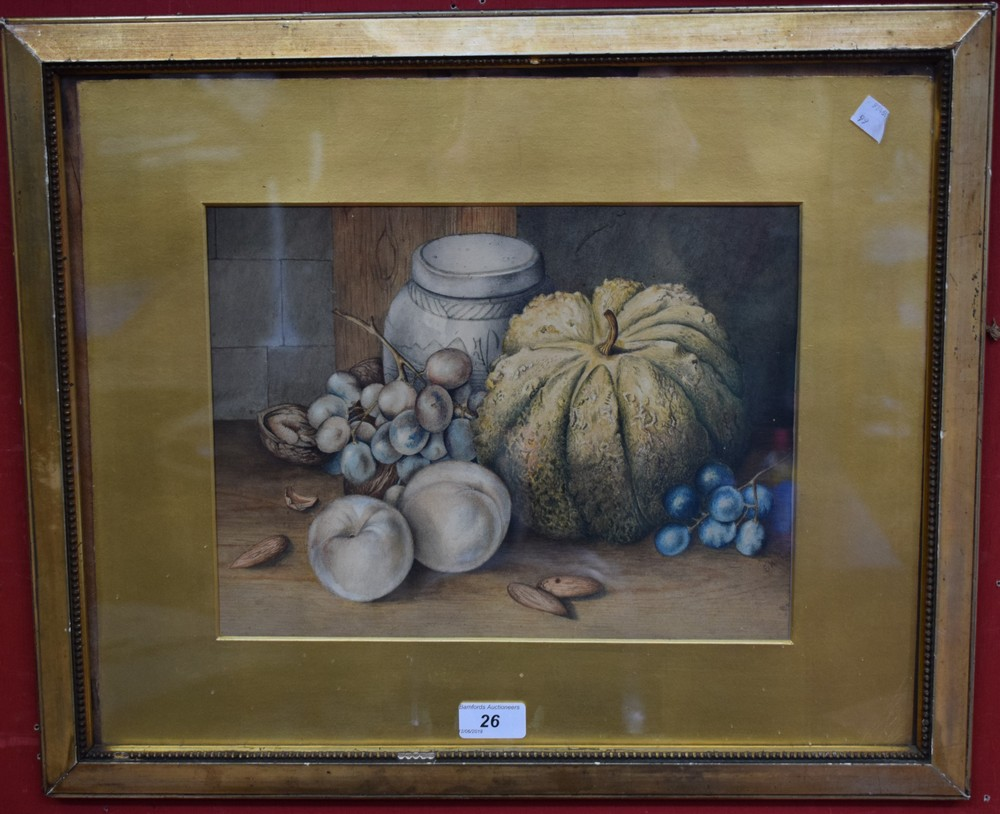 Lot 26 - Victorian School A Study of Fruits and a Ginger Jar, signed with initials E.H.