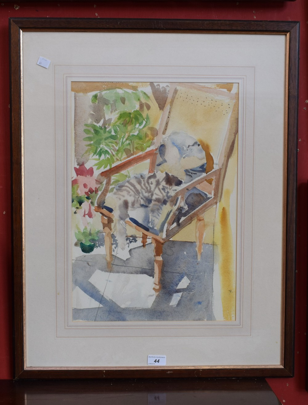 Lot 44 - Impressionist School Cat Lazing on a Chair unsigned,