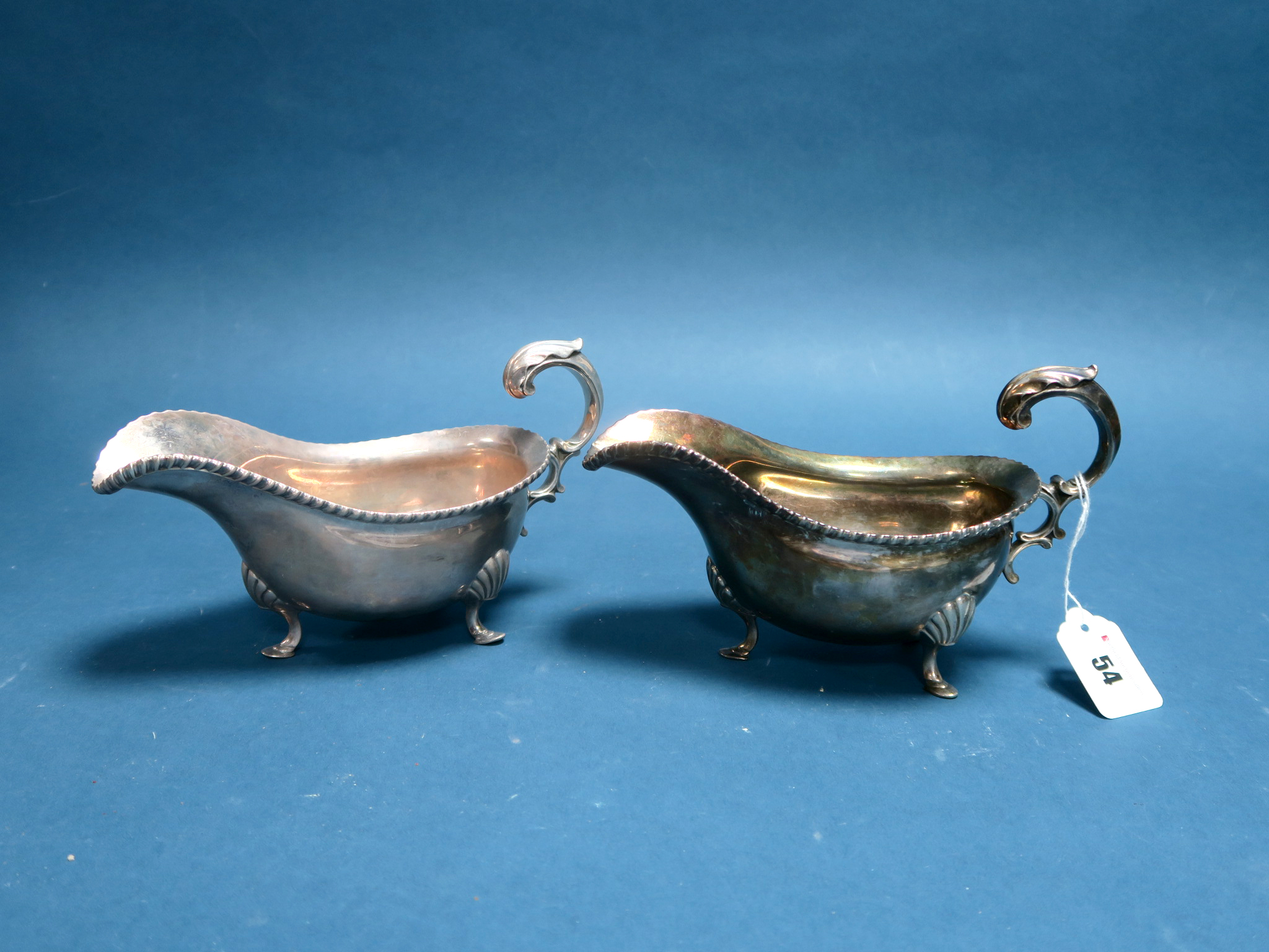 Lot 54 - A Pair of Large Hallmarked Silver Sauce Boats, Goldsmiths & Silversmiths Co Ltd, London 1909, each
