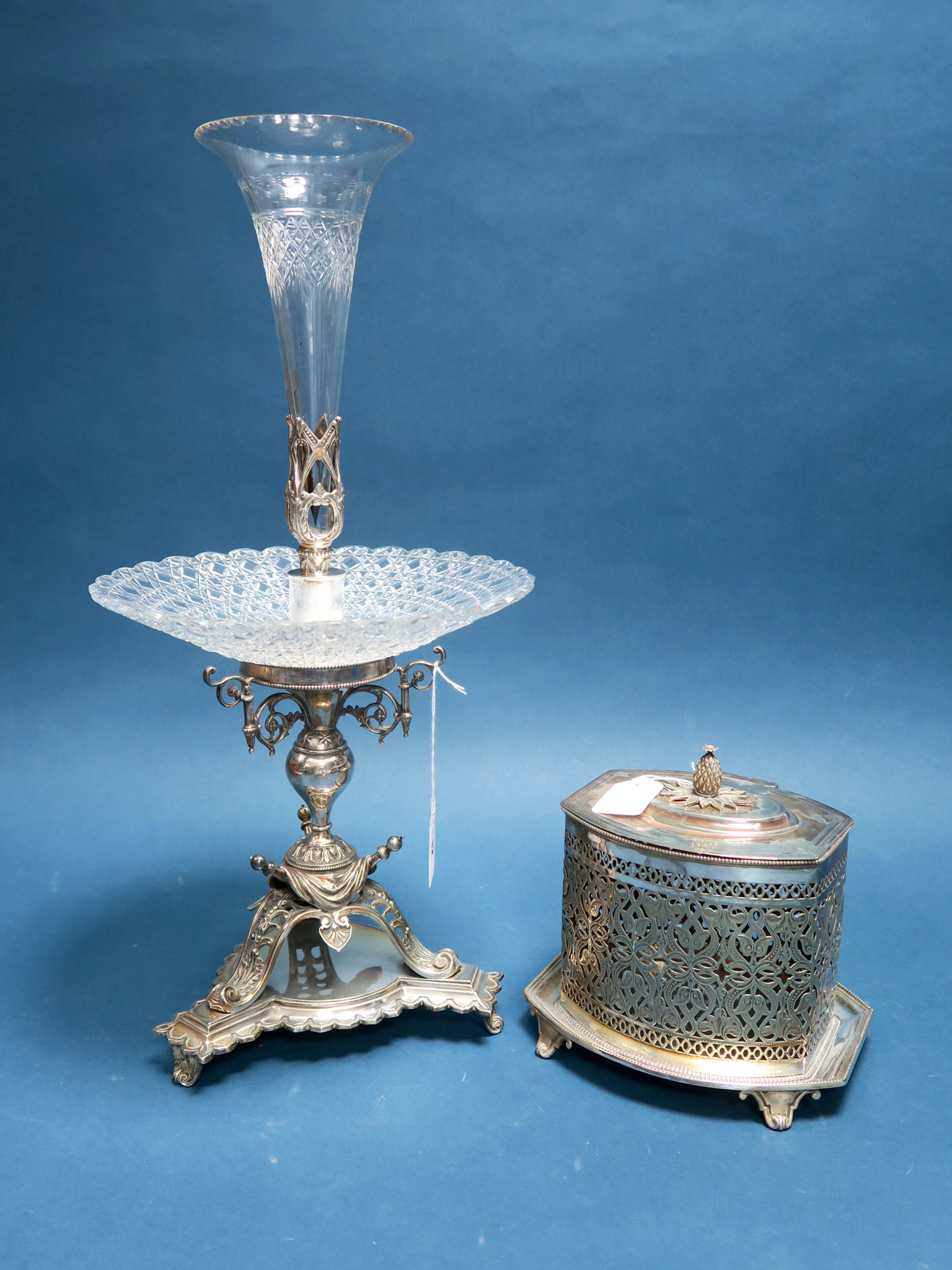 Lot 12 - An Atkin Bros Plated Table Epergne Centrepiece, with cut glass dish and single central glass