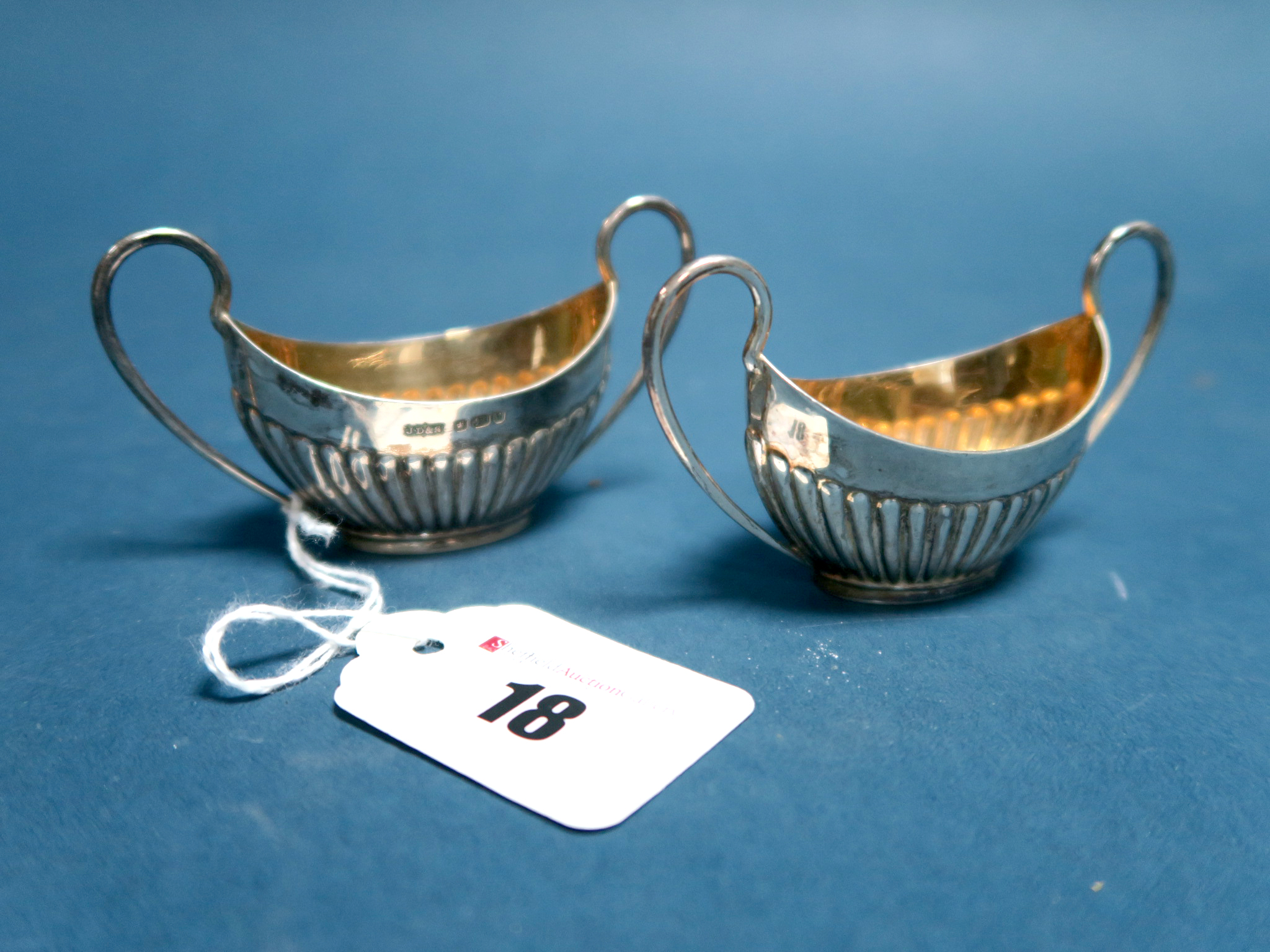 Lot 18 - A Pair of Hallmarked Silver Salts, James Dixon & Son, Sheffield 1891, each of semi reeded boat