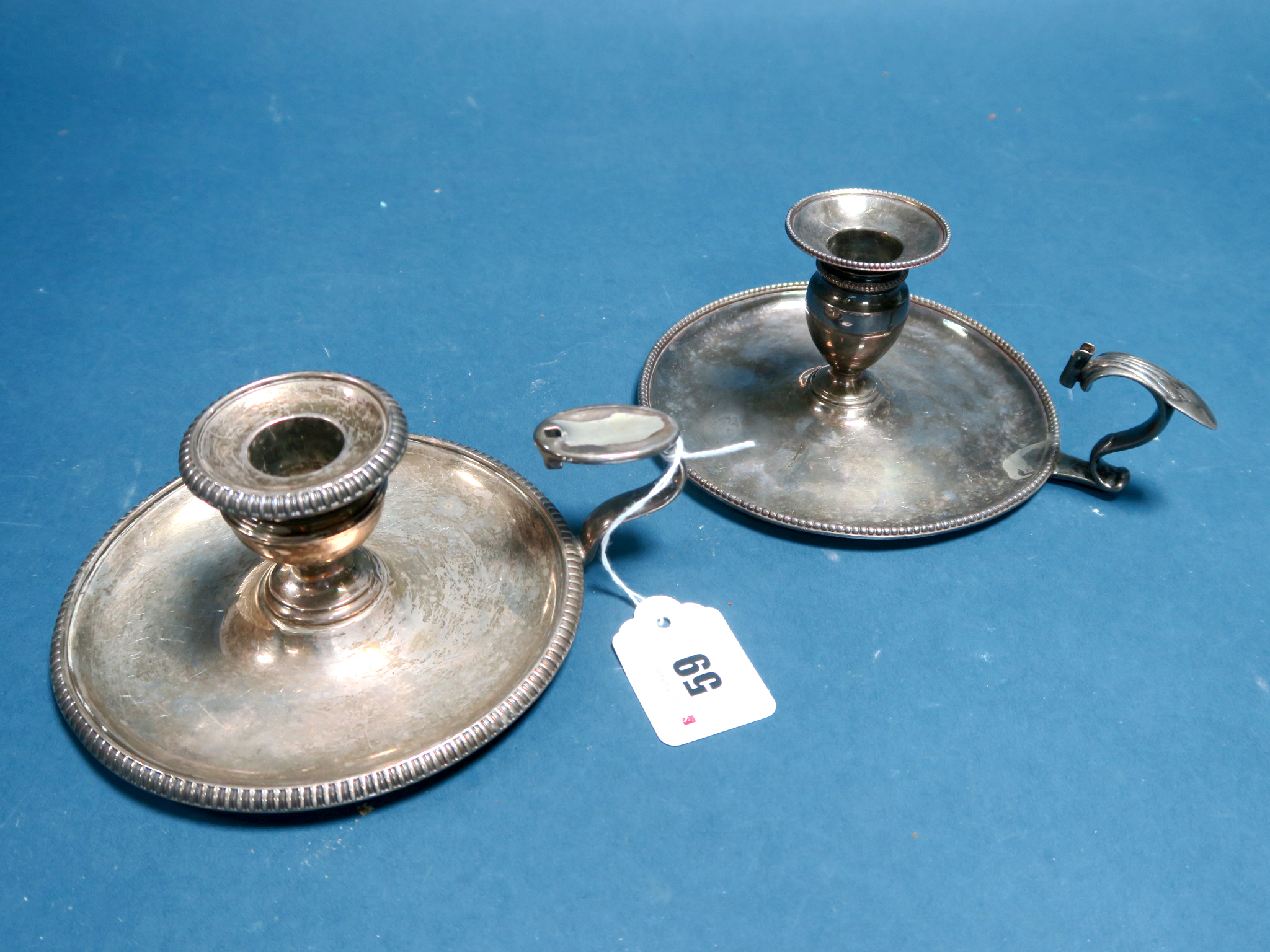 Lot 59 - A Hallmarked Silver Chamberstick, RI, London 1781, of plain design with beaded edge, complete with