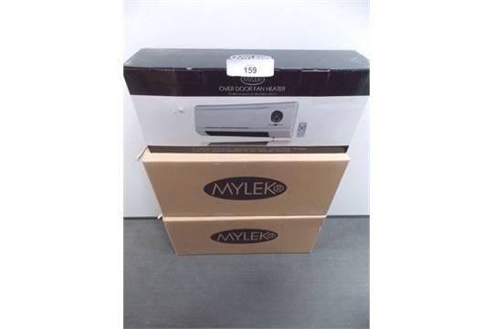 Superbe 3 X Mylek Over Door Fan Heater, UPC Code 0700 621673323, Colour White   New  In Box