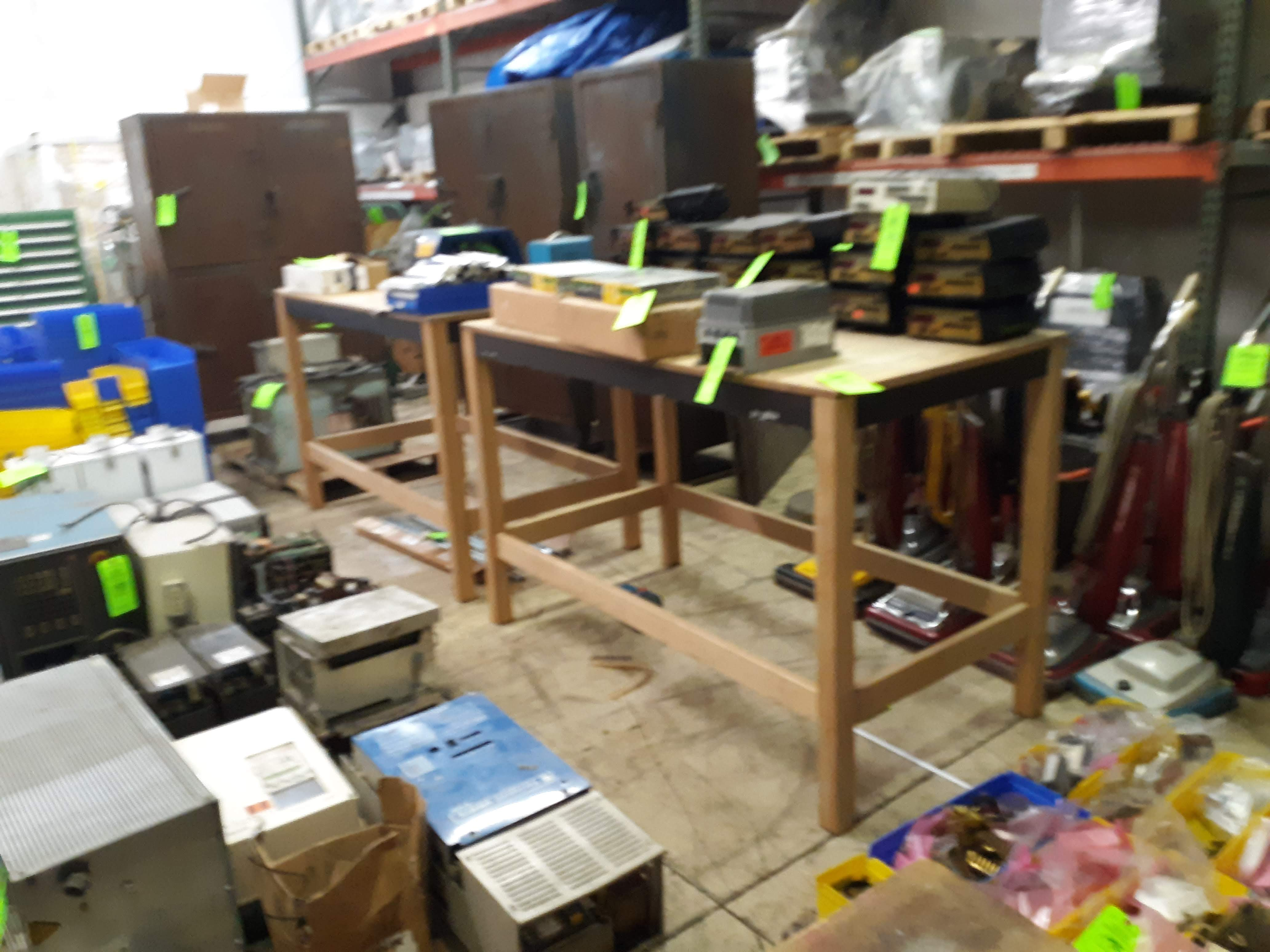 """(2) WOOD FRAME TABLES APPROX. 66"""" X 34"""" X 43"""" TALL (LOCATED AT: 432 COUNCIL DRIVE, FORT WAYNE, IN"""