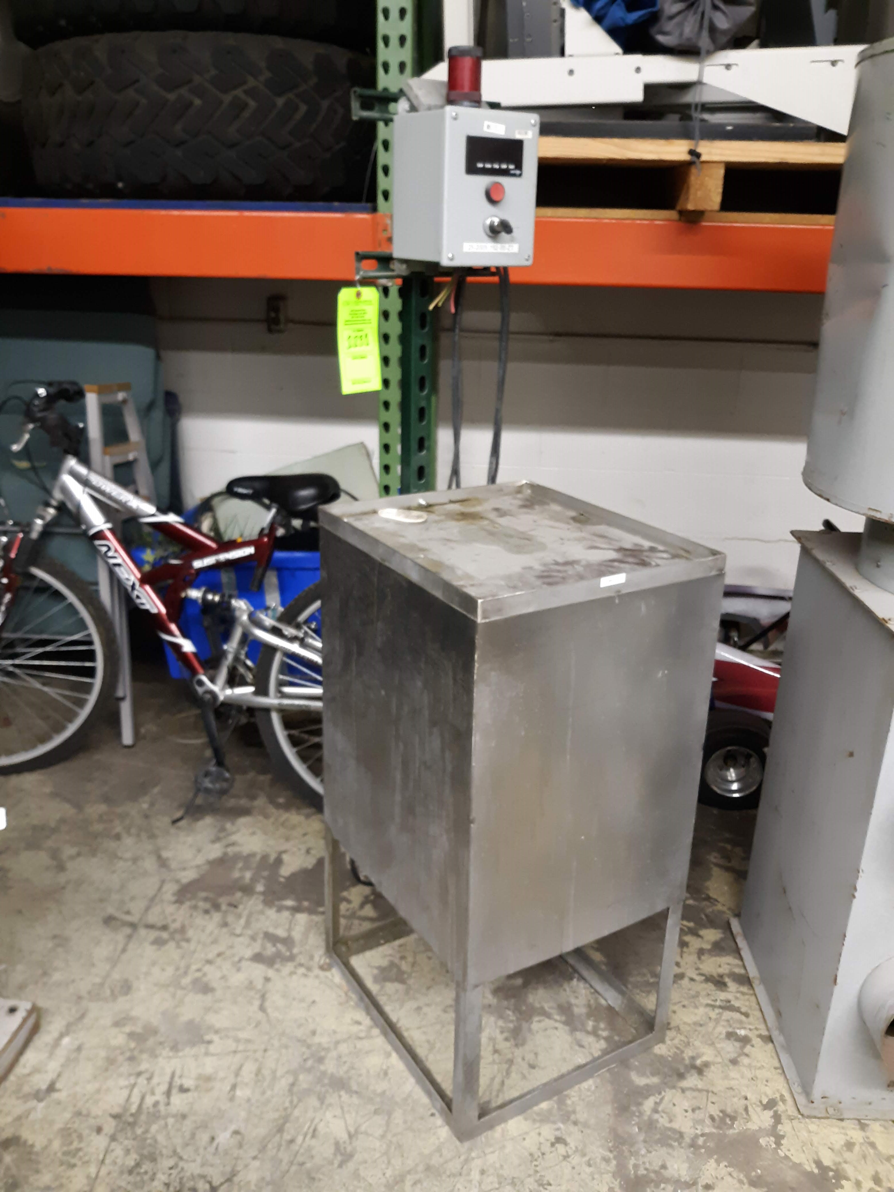 STAINLESS STEEL STAND W/ RED LION CONTROL BOX; POWER OUTLET BOX; SQUARE D GEN PURPOSE TRANSFORMER