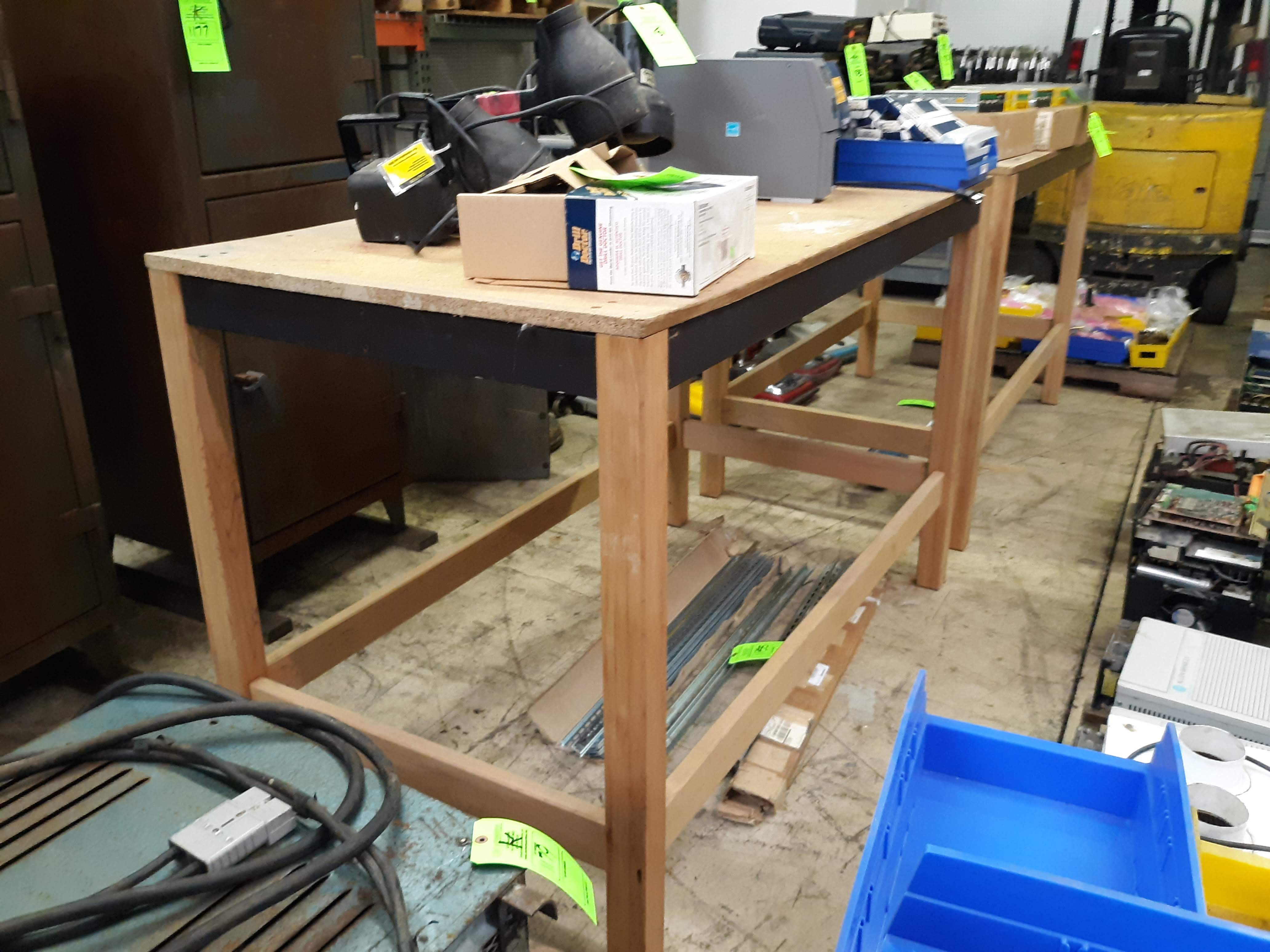 """(2) WOOD FRAME TABLES APPROX. 66"""" X 34"""" X 43"""" TALL (LOCATED AT: 432 COUNCIL DRIVE, FORT WAYNE, IN - Image 3 of 3"""