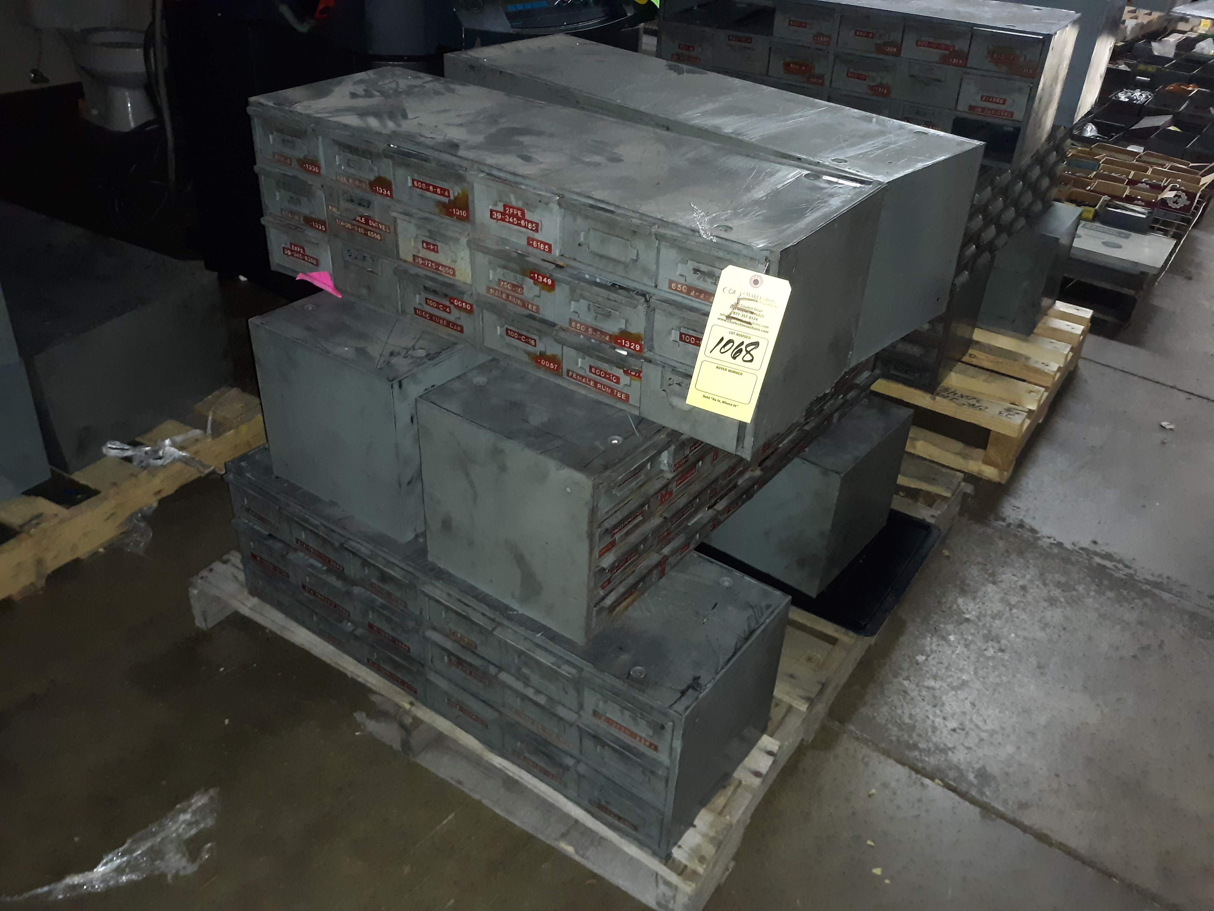 Lot 1068 - (6) SMALL PARTS BINS W/ VARIOUS SCREWS; BOLTS; NUTS; WASHERS & PINS (LOCATED AT: 432 COUNCIL