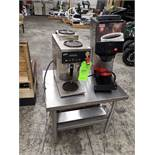 (2) COFFEE MAKERS FOR RESTAURANT ON STAINLESS STEEL TABLE CURTIS ALPHA 3GT DOUNE EGBERTS FRB8510 (