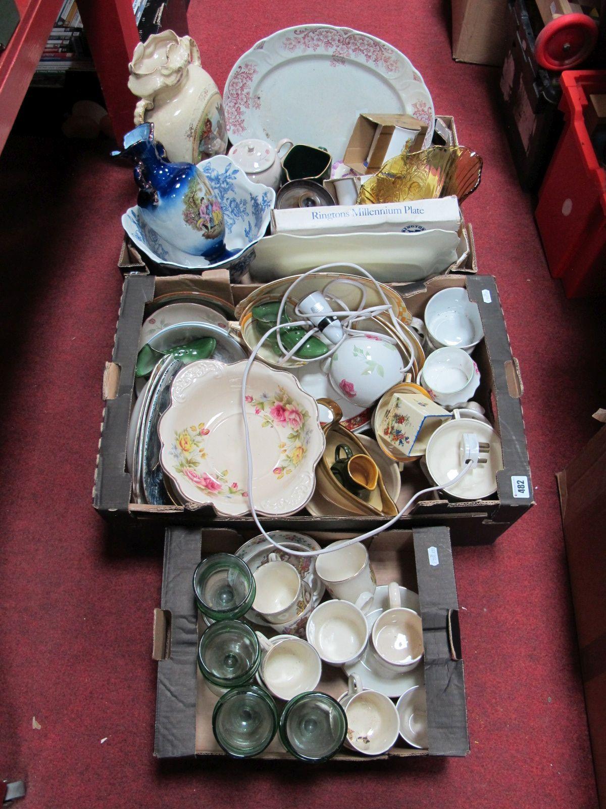 Lot 482 - An Early XX Century Vase, XIX Century meat plate, Ringtons Jubilee beakers, other commemorative
