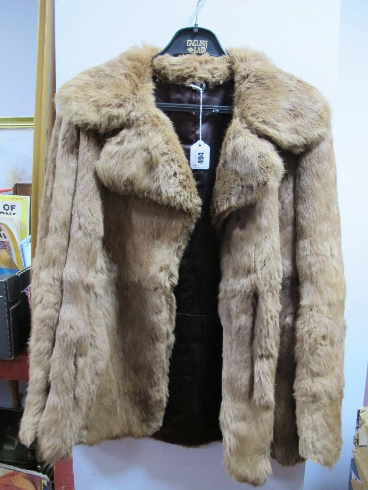 Lot 494 - Brown Three Quarter Length Coney Fur Coat.