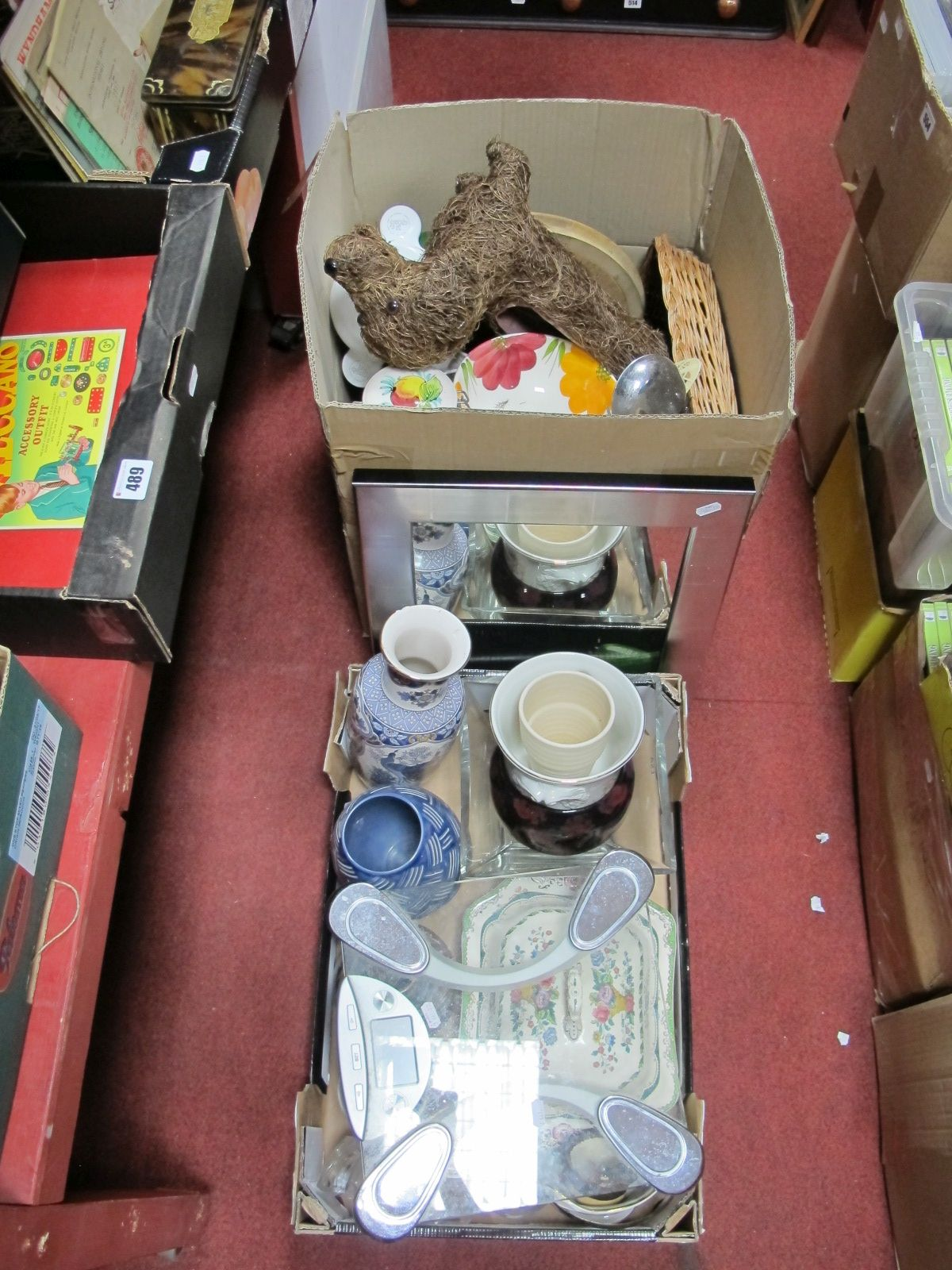 Lot 493 - Kitchenware, ceramics, mirror, scales, etc:- Two Boxes