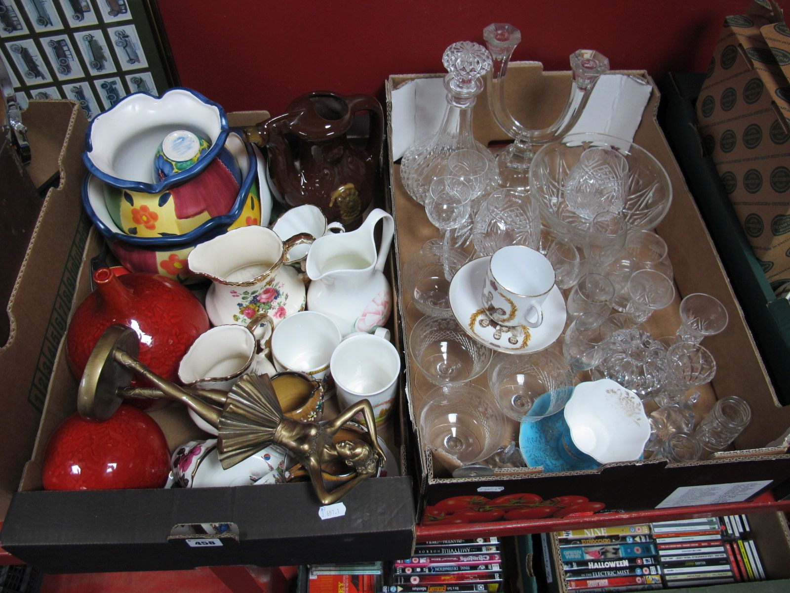 Lot 458 - Pottery Vases, planters, china tea wares, lead crystal and other glass ware:- Two Boxes