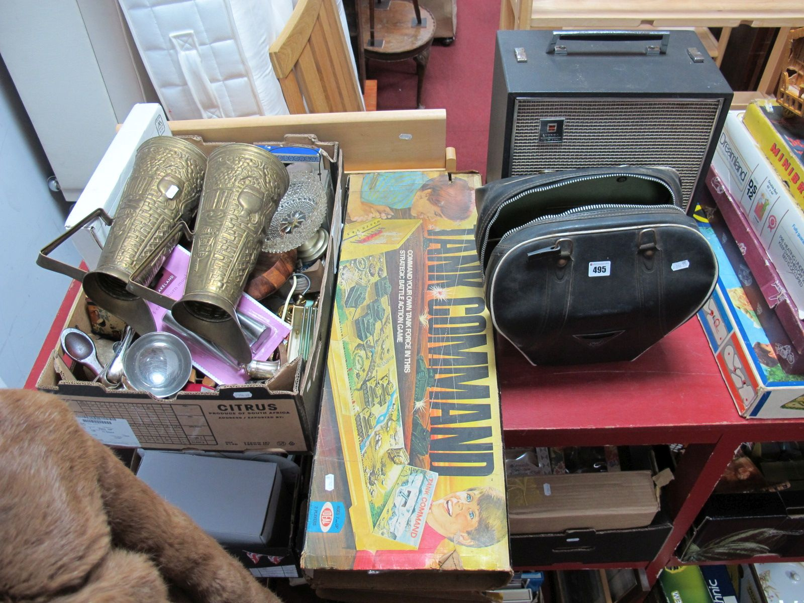 Lot 495 - A Lantern, National stereo speaker system, pair of brass jugs, Tank Command, ten pin bowling bowl,