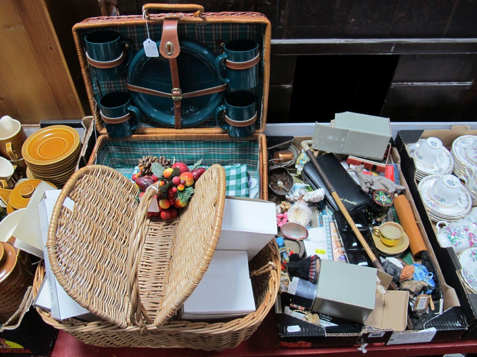 Lot 503 - A Wicker Picnic Hamper, riding crop, watercolour paints, souvenir teaspoons, travel games and