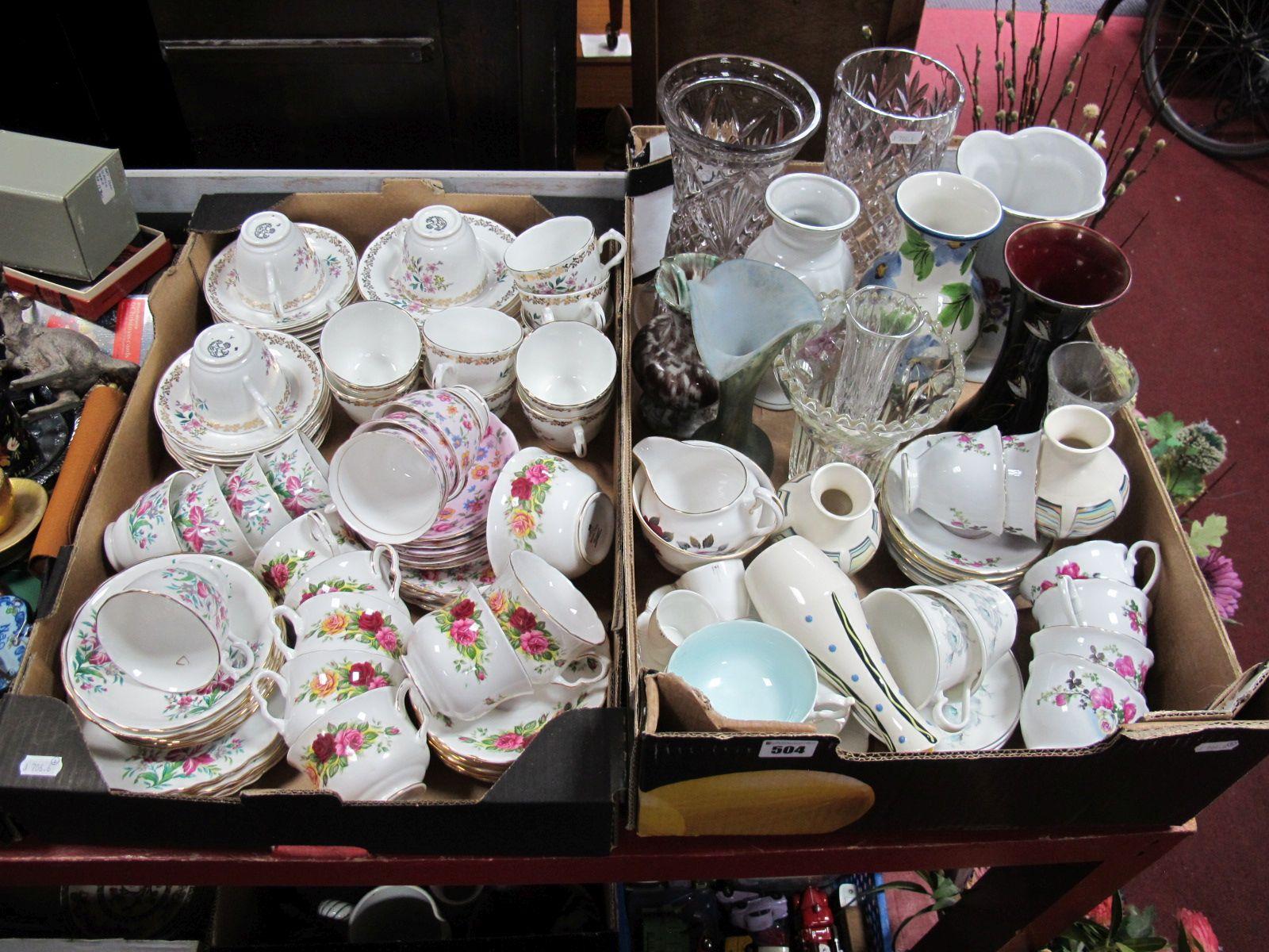 Lot 504 - Royal Grafton China Teawares, lead crystal vase, Hornsea Pottery vases, further teawares, etc.