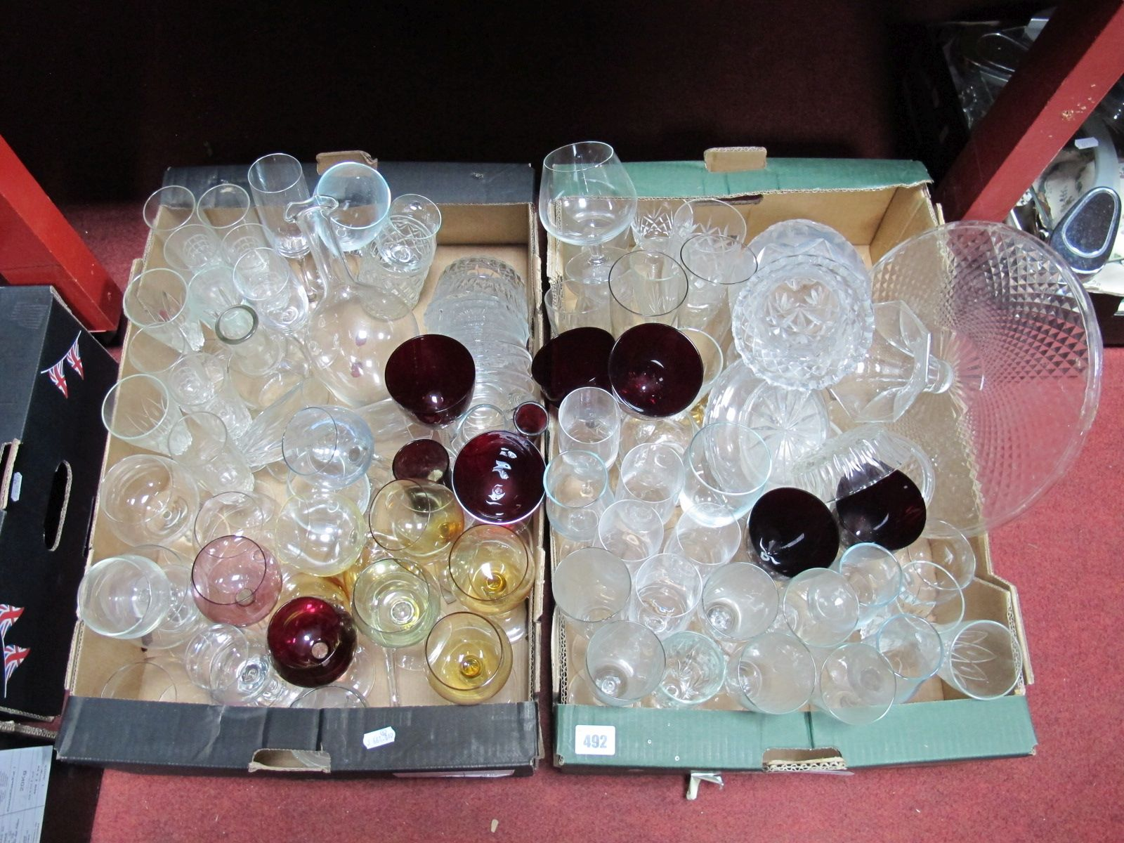 Lot 492 - Harlequin and Ruby Bowl Wine/Hock Glasses, comport, other glassware:- Two Boxes