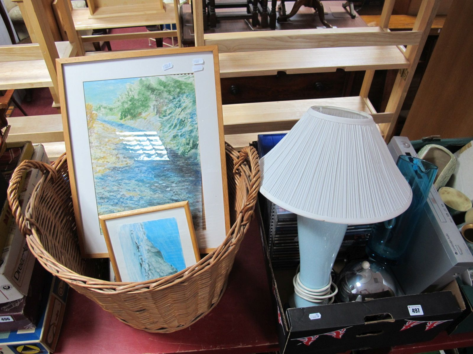 Lot 497 - A Cambridge Audio DVD Player and Remote, a quantity of CD's, pottery table lamp, blue glass jug,